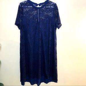 Love & Legend Cobalt Floral Lace High Neck Dress